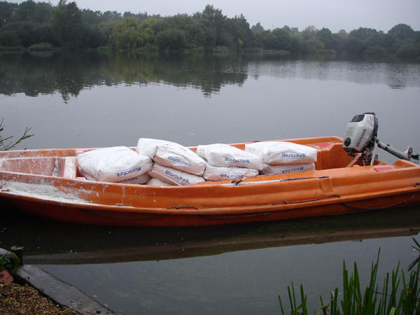 Boats are used for a fast and efficient application of our microchalk.